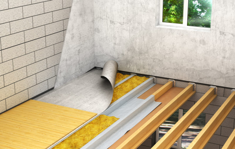 Installation Of Wooden Floors Between Floors: Detailed Construction Technology. 3d Illustration